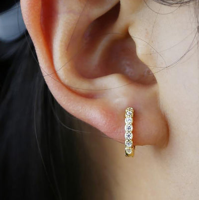 Cute Crystal Huggie Hoop Earrings Fashion Jewelry for Women - www.MyBodiArt.com