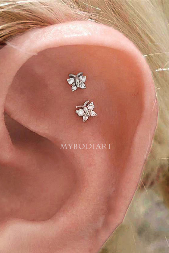 Cute Simple Double Butterfly Cartilage Helix Ear Piercing Jewelry Ideas for Women for Teen Girls -  piercing de orejas de cartílago de mariposa - www.MyBodiArt.com
