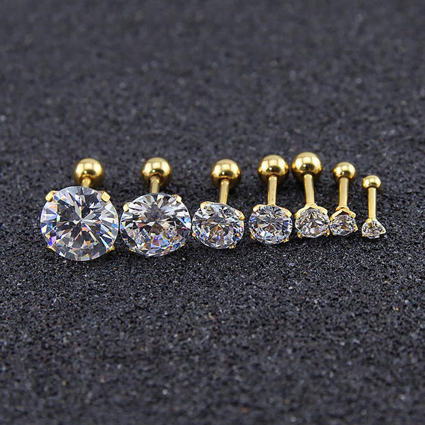 Beautiful Simple Crystal Cartilage Helix Tragus Conch Earring 16G Silver Stud Ear Piercing Gold - www.MyBodiArt.com