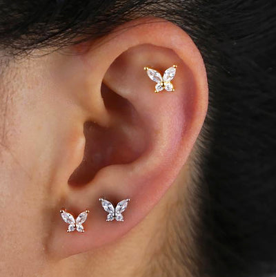 Cute Crystal Butterfly Cartilage Helix Earlobe Ear Piercing Jewelry Ideas - www.MyBodiArt.com