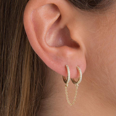 Unique Double Ear Lobe  Chain Hoop Ring Earring Gold Ear Piercing Ideas - www.MyBodiArt.com