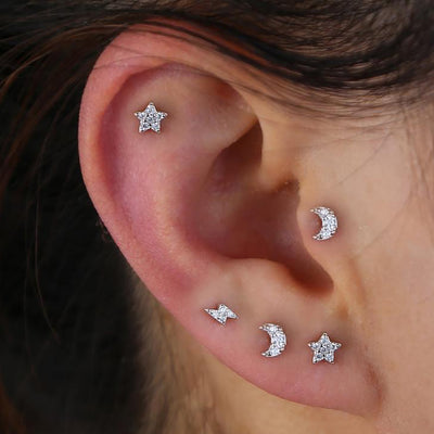 Cute Celestial Star Moon Lightning Multiple Ear Piercing Jewelry Ideas Earring Studs - www.MyBodiArt.com #earrings