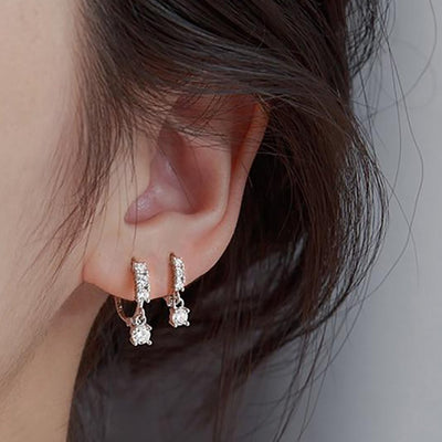 Cute Double Crystal Drop Silver Huggie Hoop Earrings - www.MyBodiArt.com