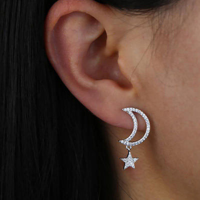 Beautiful Crystal Pave Moon Star Dangle Earrings Studs Fashion Jewelry for Women - www.MyBodiArt.com