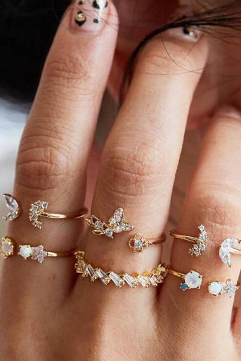 Cute Butterfly Unique Stackable Gold Statement Ring Set -  lindo conjunto de anillos - www.MyBodiArt.com #rings
