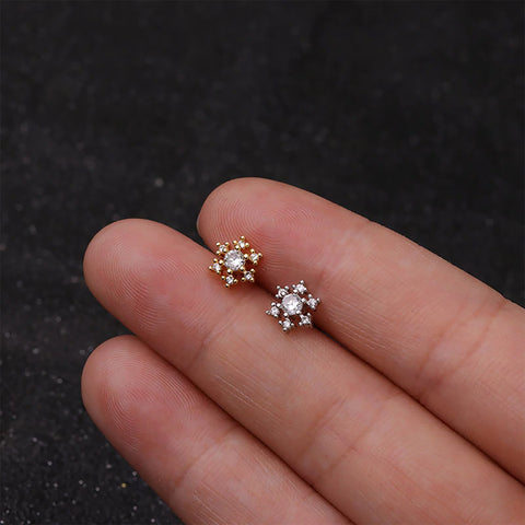 Alessia Crystal Gold Ear Piercing Jewelry Earring Studs 16G