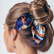 2020 Trends Easy Cute Ponytail Hairstyles Medium Classy Silk Bow Tie Know Scrunchies with Pearl - MyBodiArt