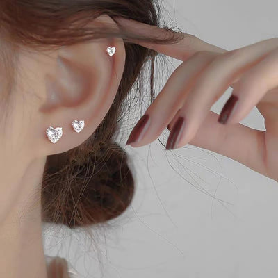 Cute Heart Cartilage Helix Multiple Ear Piercing Jewelry Ideas for Women - www.MyBodiArt.com