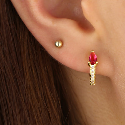 Hoop Ear Piercing Jewelry Ideas - Crystal Ring Huggie Earring - www.MyBodiArt.com #earrings