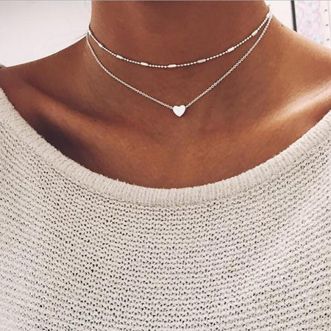 Cute Simple Double Layered Silver Heart Choker Necklace Fashion Jewelry for Women -  collar de corazón - www.MyBodiArt.com #necklaces