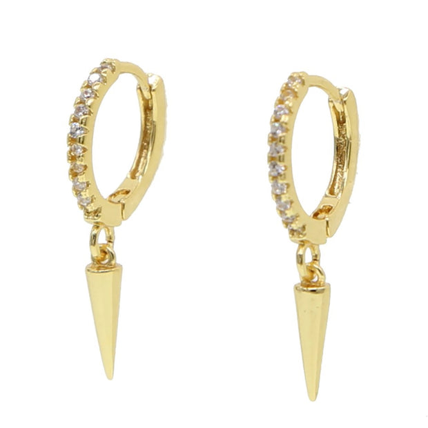Arisa Edgy Crystal Long Spike Huggie Hoop Earrings in Gold