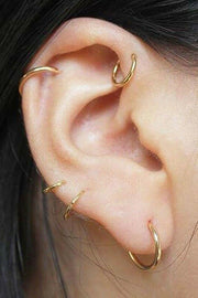 Cute Gold Ring Hoop Multiple Cartilage Helix Conch Ear Piercing Jewelry Ideas -  ideas de joyería piercing en la oreja - www.MyBodiArt.com