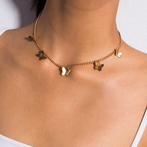 Beautiful Butterfly Charm Chain Choker Necklace - collar de mariposa - www.MyBodiArt.com #necklaces
