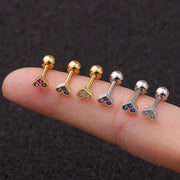 Ciel Cute Small Colorful Crystal Gold Ear Piercing Jewelry Earring Stud Barbell 16G