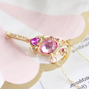 Cute Sailor Moon Pink Crescent Moon Crystal Wand Heart Angel Wing Gold Chain Choker Necklace Statement Jewelry for Women - www.MyBodiArt.com #necklaces