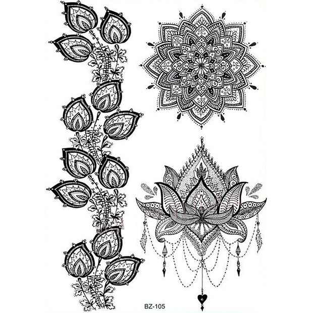 Tribal Boho Black Lace Mandala Chandelier Lotus Temporary Tattoo Sheets - www.MyBodiArt.com