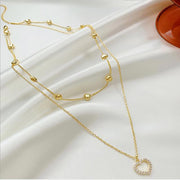 Saros Heart Double Layered Gold Chain Choker Necklace