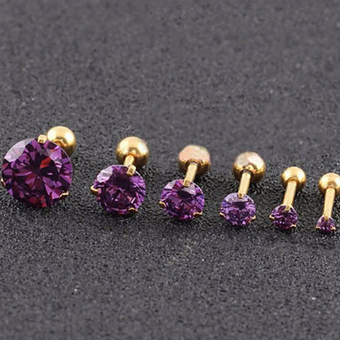 Beautiful Simple Crystal Cartilage Helix Tragus Conch Earring 16G Silver Stud Ear Piercing Gold Purple Crystals  - www.MyBodiArt.com