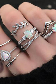 Lea Cute Unique Stackable Opal Silver Statement 9 Piece Ring Set