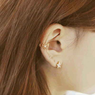 Cute Floral Flower Ear Cuff Earring for Conch Cartilage Helix Non Ear Piercing Jewelry Womens Fashion - www.MyBodiArt.com