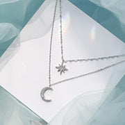Estella Double Layered Star & Moon Chain Choker Necklace