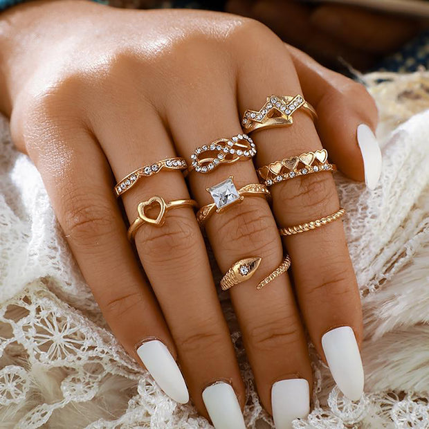 Cute Gold Stackable Midi Modern Artistic Ring Set Snake Fashion Jewelry for Teen Girls for Women - www.MyBodiArt.com #rings