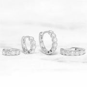 Collette Classy Crystal Ring Hoop Huggie Ear Piercing Earrings