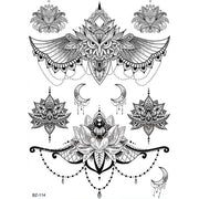 Cool Unique Black Chandelier Owl Lotus Sternum Tattoo Ideas for Women - www.MyBodiArt.com