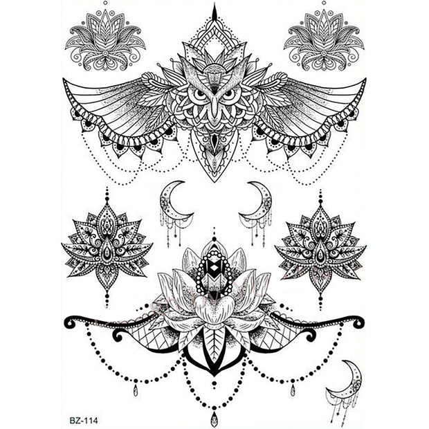 Comashe Unique Black and White Mandala Chandelier Lotus Temporary Tattoos
