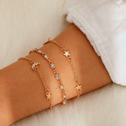 Cute Dainty Gold Moon and Star Bracelet Set Fashion Jewelry for Women for Teen Girls - www.MyBodiArt.com