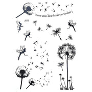 Black Dandelion Floral Flower Temporary Tattoo Ideas for Women - www.MyBodiArt.com