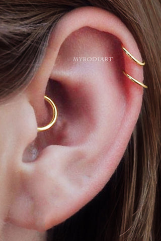 Cute Gifts for Her Graduation - Flower Ear Cuff Earring - Auricle Conch Piercing Jewelry Hoop - Feminine Girly - MyBodiArt.com