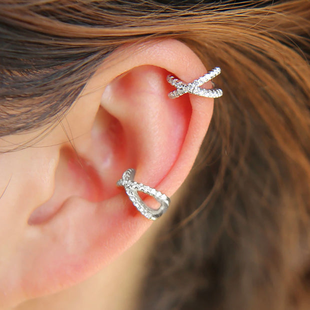 Cute Multiple Cartilage Helix Ear Piercing Jewelry Earring Cuff Crystal Criss Cross X for Women -   Learn to pronounce ideas de joyería piercing en la oreja -  ideas de joyería piercing en la oreja - www.MyBodiArt.com