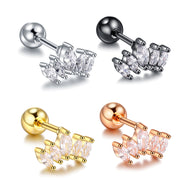 Krone Crown Ear Piercing Jewelry 16G Stud for Cartilage, Helix, Conch, Tragus Earring Rose Gold, Gold, Silver, Black - www.MyBodiArt.com