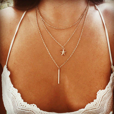 Cute Layered Star Gold Necklace Fashion Statement Jewelry for Women for Teen Girls - www.MyBodiArt.com