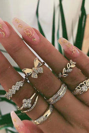 Cute Gold Stackable Midi Boho Opal Leaf Ring Set Fashion Jewelry for Teen Girls for Women - www.MyBodiArt.com #rings