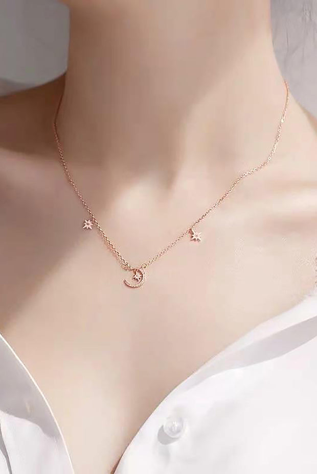 Libra Dainty Cute Moon Star Chain Choker Necklace