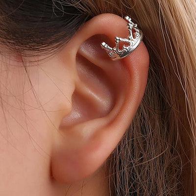 Cute Princess Crown Ear Cuff Earring for Cartilage, Conch, Helix Non Piercing Fashion Jewelry for Women in Gold Silver Black - www.MyBodiArt