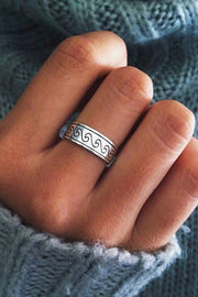 Cute Beach Boho Surf Wave Band Ring in Antiqued Silver Fashion Jewelry for Women