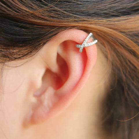Crystal Criss Cross X Ear Cuff Earring - Cute Simple Cartilage Helix Ear Piercing Jewelry Ideas for Women - www.MyBodiArt.com