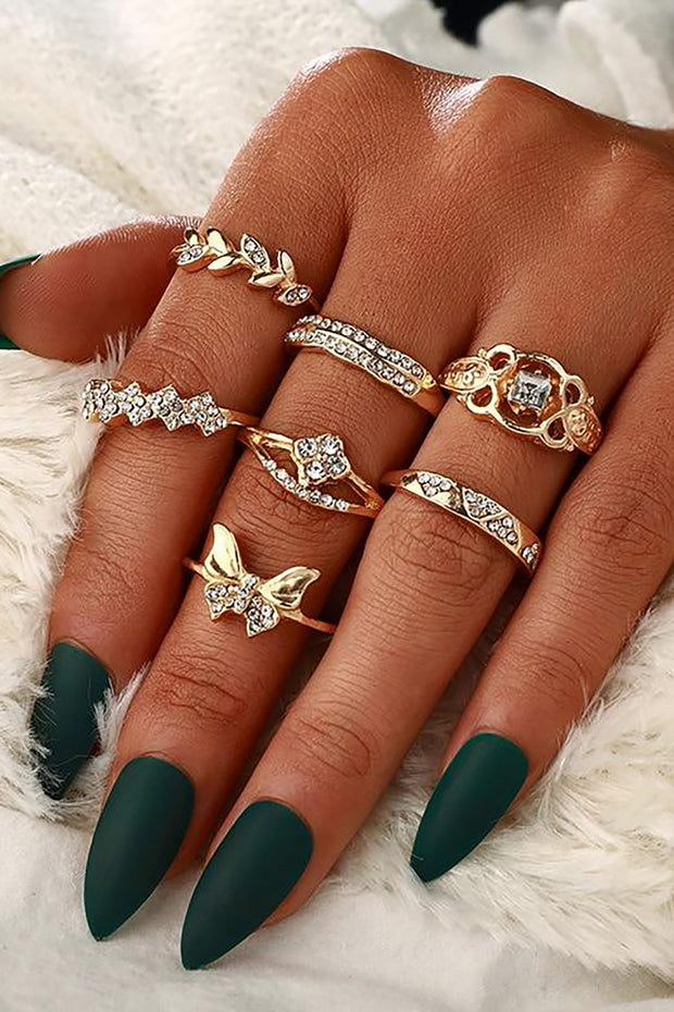 Tina Cute Unique Stackable Gold Butterfly Statement 7 Piece Ring Set