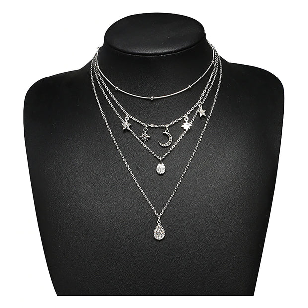 Cute Layered Boho Moon Star Necklace Choker in Silver for Teen Girls for Women for Girlfriend -  collar para mujer - www.MyBodiArt.com