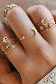 Cute Dainty Stackable Moon Star Adjustable Gold Rings for Teen Girls - www.MyBodiArt.com #rings