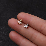 Cute Small Crown Ear Piercing Jewelry Earring Stud 16G Gold or Silver for Cartilage, Helix, Tragus, Conch - www.MyBodiArt.com