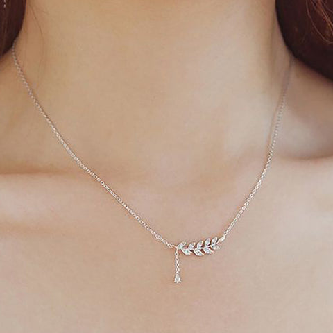 Cute Simple Dainty Floating Leaf Lariat Chain Choker Necklace -  collares lindos - www.MyBodiArt.com