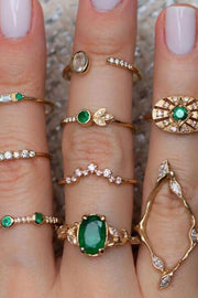 Jasmine Cute Luxury Unique Stackable Green Emerald Gold Statement 9 Piece Ring Set