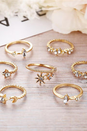 Gamma Cute Moon Star Flower Stackable Midi 7 Pieces Gold Rings Set
