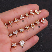 Cute Gold Flower Ear Piercing Jewelry for Women Earring Studs 16G - www.MyBodiArt.com