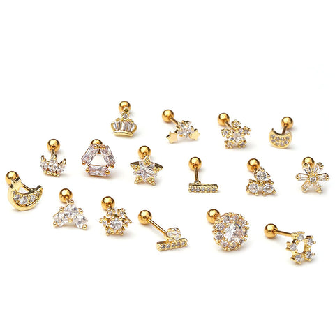 Cute Silver Flower Ear Piercing Jewelry for Women Earring Studs 16G - www.MyBodiArt.com