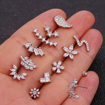 Pretty Silver Crystal Flower Leaf Snowflake Multiple Ear Piercing Earring Studs 16G - www.MyBodiArt.com #earrings